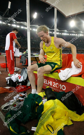 Australia's Steve Hooker is seen following the Men's Pole Vault final during the Commonwealth Games at the Jawaharlal Nehru Stadium in New Delhi, India