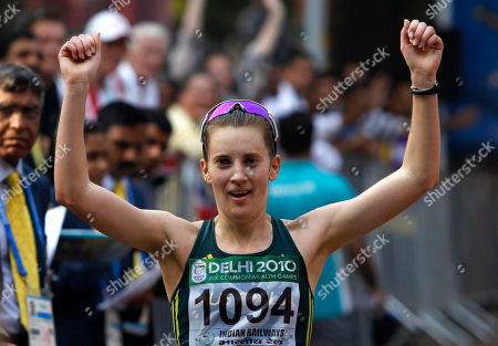 Claire Tallent Australia's Claire Tallent reacts to finish second in the women's 20km walk during the Commonwealth Games in New Delhi, India