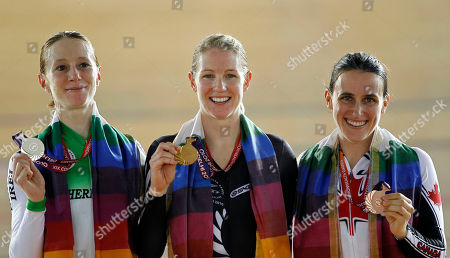 Wendy Houvenaghel, Alison Shanks, Tara Alice Whitten From left to right, Wendy Houvenaghel of Northern Ireland, New Zealand's Alison Shanks, and Canada's Tara Alice Whitten pose with their silver, gold and bronze medals respectively for Women's Individual Pursuit during the Commonwealth Games at the Indira Gandhi Sports Complex in New Delhi, India
