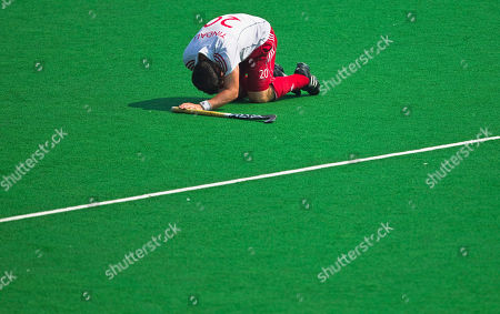 James Tindall England's James Tindall reacts in the men's field hockey bronze medal match against New Zealand during the Commonwealth Games at Major Dhyan Chand Stadium in New Delhi, India, . New Zealand beat England 5-3 in a penalty shootout after being tied at 3-3