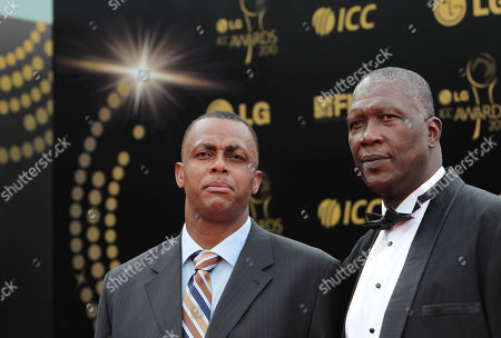 Courtney Walsh, Joel Garner Former West Indies cricketers Courtney Walsh, left, and Joel Garner arrive at the red carpet of the International Cricket Council Awards 2010 in Bangalore, India
