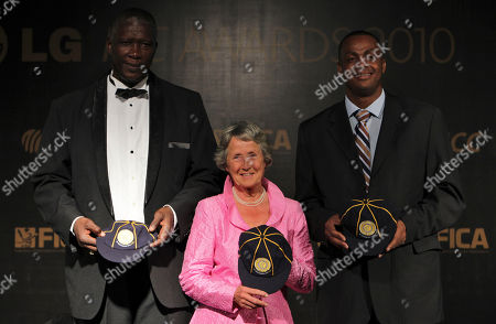 Rachael Heyhoe Flint, Joel Garner, Courtney Walsh Former cricketers from England Rachael Heyhoe Flint, center, flanked by West Indies Joel Garner, left, and Courtney Walsh after they were inducted in ICC's Hall of Fame at the International Cricket Council (ICC) Awards 2010 in Bangalore, India