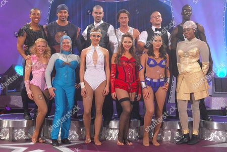 Front row (L to R) Actress Stacey Cadman, actress Hannah Waterman, Lady Isabella Hervey, Australian model Emily Scott, Princess Tamara of Spain and actress Okonma. Back row (L to R) Actor Luke Bailey, actor Kyal Marsh, ex footballer Dean Holdsworth, ex Five boyband member Ritchie Neville, ex Boyzone member Shane Lynch and former athlete Dwain Chambers