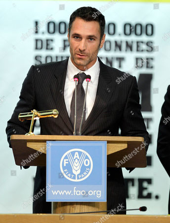 Italian actor Raul Bova speaks after being named new FAO goodwill ambassador, on the occasion of the World Food Day, at the FAO (United Nations Food and Agriculture Organization) headquarters in Rome
