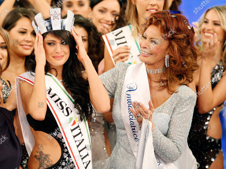 Francesca Testasecca, Sofia Loren Francesca Testasecca, left, reacts with Italian actress and beauty pageant jury president Sofia Loren after she was voted Miss Italia (Miss Italy) 2010, in Salsomaggiore, Italy