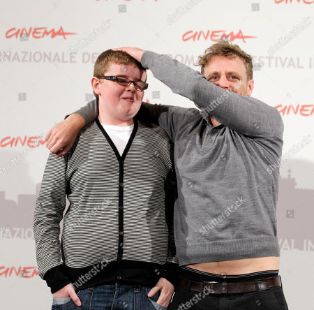 """British director Paul Fraser, right, poses with young actor Paul Courtney for a photo call to present the movie """"My brothers"""" during the Rome Film Festival at Rome's Auditorium"""