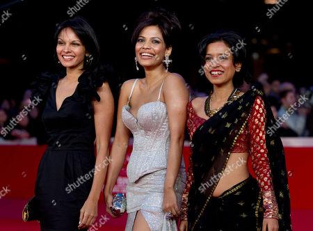 "Seema Rahmani, Priyanka Bose, Tillotama Shome From left, actresses Seema Rahmani, Priyanka Bose and Tillotama Shome arrive on the red carpet to attend the screening of their movie ""Gangor"" during the Rome Film Festival at Rome's Auditorium"