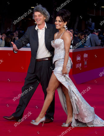 """Italo Spinelli Director Italo Spinelli and actress Priyanka Bose arrive on the red carpet to attend the screening of their movie """"Gangor"""" during the Rome Film Festival at Rome's Auditorium"""