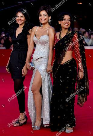 "Stock Photo of Seema Rahmani, Priyanka Bose, Tillotama Shome From left, actresses Seema Rahmani, Priyanka Bose and Tillotama Shome arrive on the red carpet to attend the screening of their movie ""Gangor"" during the Rome Film Festival at Rome's Auditorium"