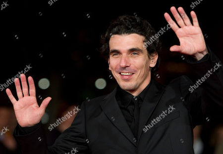 """Director Olias Barco poses on the red carpet to present the movie """"Kill Me Please"""" during the Rome Film Festival at Rome's Auditorium"""