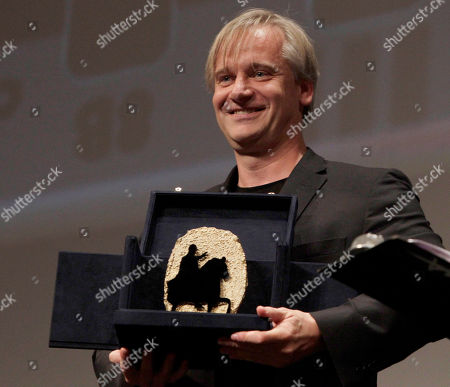 """Chris Kraus German director Chris Kraus holds the Marcus Aurelius Special Jury award for his movie """"Poll"""" during the awarding ceremony at the Rome Film Festival in Rome"""