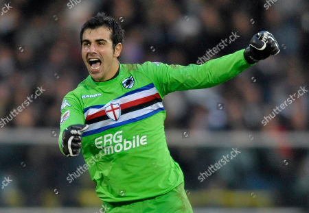 Gianluca Curci Sampdoria goalkeeper Gianluca Curci celebrates after his teammate Giampoalo Pazzini scoring a goal during their Serie A soccer match against Cesena, in Cesena's Manuzzi stadium, Italy