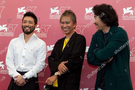 Takashi Miike, Takayuki Yamada, Koji Yakusho Actor Takayuki Yamada, director Takashi Miike and actor Koji Yakusho pose at the photo call for the film Jusan Nin No Shikaku (13 Assassins) at the 67th edition of the Venice Film Festival in Venice, Italy