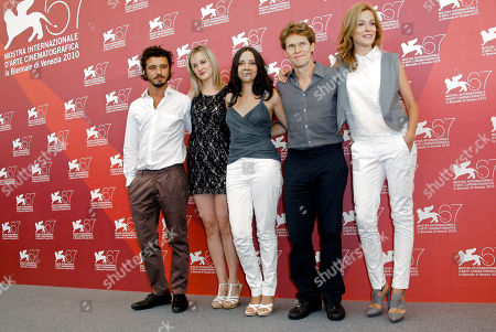 Michele Venitucci, Jess Weixler, Giada Colagrande, Willem Dafoe, Stefania Rocca From left actors Michele Venitucci, Jess Weixler, director Giada Colagrande, and actors Willem Dafoe and Stefania Rocca pose during the photo call for the film A Woman at the 67th edition of the Venice Film Festival in Venice, Italy