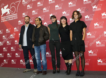 Yorgos Lanthimos, Vangelis Mourikis, Ariane Labed, Athina Rachel Tsangari, Evangelia Randou From left, actors Yorgos Lanthimos, Vangelis Mourikis, Ariane Labed, director Athina Rachel Tsangari, and actress Evangelia Randou pose during the photo call for the film Attenberg at the 67th edition of the Venice Film Festival in Venice, Italy