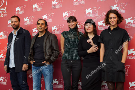 Yorgos Lanthimos, Vangelis Mourikis, Ariane Labed, Athina Rachel Tsangari, Evangelia Randou From left, actors Yorgos Lanthimos, Vangelis Mourikis, Evangelia Randou, director Athina Rachel Tsangari, and actress Ariane Labed pose during the photo call for the film Attenberg at the 67th edition of the Venice Film Festival in Venice, Italy