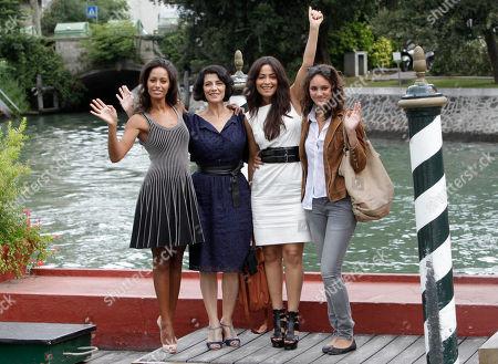 Rula Jebreal, Hiam Abbass, Yasmine Elmasri and Stella Schnabel Screenwriter Rula Jebreal, actresses Hiam Abbass and Yasmine Elmasri and Stella Schnabel at the 67th edition of the Venice Film Festival in Venice, Italy
