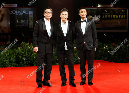 Donnie Yen, Shawn Yue, Andrew Lau Director Andrew Lau and actors Donnie Yen and Shawn Yue arrive for the screening of the film Legend of the Fist: The Return of Chen Zhen during the 67th edition of the Venice Film Festival in Venice, Italy