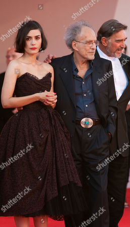 Actress Shannyn Sossamon, director Monte Hellman and Fabio Testi arrive for the screening of the film Road to Nowhere at the 67th edition of the Venice Film Festival in Venice, Italy