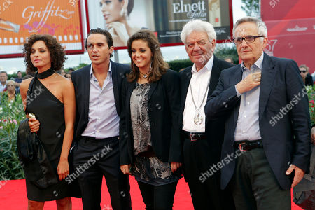 Gianni Schicchi, Valentina Bardi, Elena Bellocchio, Pier Giorgio Bellocchio, Marco Bellocchio Actors, from left, Valentina Bardi, Pier Giorgio Bellocchio, Elena Bellocchio, Gianni Schicchi, and director Marco Bellocchio arrive for the screening of the film Sorelle Mai at the 67th edition of the Venice Film Festival in Venice, Italy