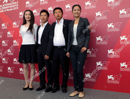 Actors Tian Xiaoyu, Lu Ye, director Wang Bing and actress Xu Cenzi during the photo call for the movie The Ditch at the 67th edition of the Venice Film Festival in Venice, Italy