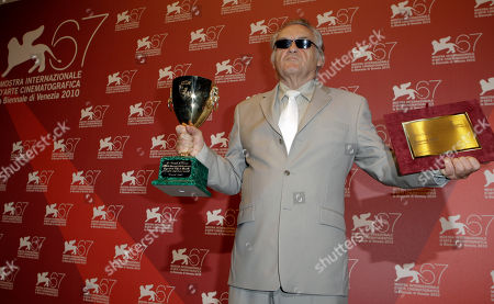 Jerzy Skolimowski Director Jerzy Skolimowski with the award for Best Actor on behalf of Vincent Gallo and the Special Jury Award for the film Essential Killing during the winner's photo call at the 67th edition of the Venice Film Festival in Venice, Italy