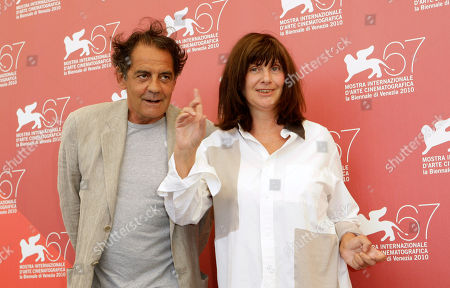 Stock Picture of Jean Francois Lepetit, Catherine Breillat Producer Jean Francois Lepetit and Director Catherine Breillat pose at the photo call for the film La Belle Endormie at the 67th edition of the Venice Film Festival in Venice, Italy