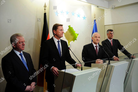 Skender Hyseni, Guido Westerwelle, Fatmir Sejdiu, Hashim Thaci From left, Kosovo Foreign Minister Skender Hyseni, German Foreign Minister Guido Westerwelle, Kosovo President Fatmir Sejdiu and Kosovo Prime Minister Hashim Thaci attend a joint press conference after meeting in Kosovo's capital Pristina, . After Croatia, Serbia and Bosnia, Kosovo is Westerwelle's last stop on a three-day trip to the Balkans