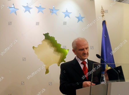 """Stock Image of Kosovo's President Fatmir Sejdiu reads out his statement as he resigns from his post on Monday, Sept. 27. 2010. Sejdiu says he has resigned from his post after the Constitutional Court found he violated the country's constitution by holding office and the leadership of his party simultaneously. Sejdiu said his decision on Monday was taken to """"respect to the institutions and the decisions taken by them."""" He said he did not feel he violated the constitution but the court """"thought otherwise"""