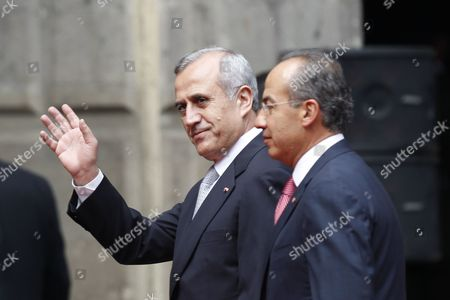 Felipe Calderon, Michel Sleiman Mexico's President Felipe Calderon, right, walks with Lebanon's President, General Michel Sleiman, prior to a welcoming ceremony at the national palace in Mexico City, . Sleiman is on a one-day official visit to Mexico