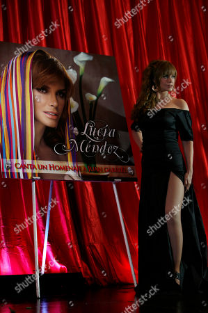 "Lucia Mendez Actress and singer Lucia Mendez, from Mexico, poses for photos during the presentation of her new album ""Canta un Homenaje a Juan Gabriel"" in Mexico City"