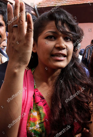 """Stock Picture of Nihita Biswas Nihita Biswas, reportedly married to 65-year-old convicted French serial killer Charles Sobhraj, speaks to the media outside the Supreme Court in Katmandu, Nepal, . Nepal's Supreme Court upheld the conviction of Sobhraj nicknamed """"The Serpent"""" who was convicted of slaying an American tourist in Katmandu more than three decades ago. Sobhraj would serve his life sentence in a Nepali jail"""