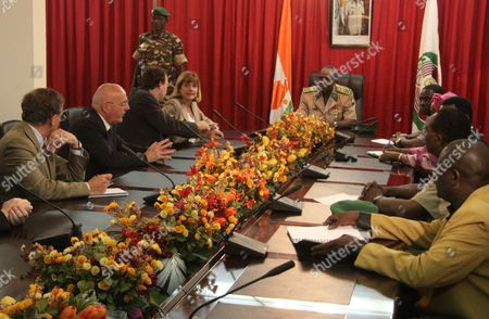 Salou Djibo, Anne Lauvergeon Areva President Anne Lauvergeon, back left, and her delegation meet with officials including Salou Djibo, center, head of the ruling military junta, in Niamey, Niger . A tape released Thursday on a jihadist forum shows the first images of a group of hostages including five French citizens since they were seized in Niger by an al-Qaida offshoot and taken into the desert. The hostages were grabbed in the middle of the night on Sept. 16 from their guarded villas in the uranium mining town of Arlit in Niger where they were working for French nuclear giant Areva. The tape's release came as top officials from Areva began a visit to Niger