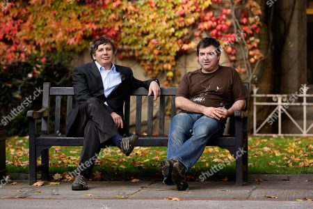 "University of Manchester professors Andre Geim and Konstantin Novoselov, right, awarded the Nobel Prize for Physics pose for pictures outside Manchester University, Manchester, England, . Two Russian-born scientists shared the Nobel Prize in physics on Tuesday for ""groundbreaking experiments"" with the thinnest, strongest material known to mankind _ a carbon vital for the creation of faster computers and transparent touch screens"