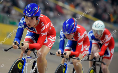 Katie Colclough, Laura Trott, Wendy Houvenaghel Britain's Katie Colclough, left, leads teammates Laura Trott, center, and Wendy Houvenaghel in the Women's 3km Team Pursuit final race during the European Track Cycling Championships in Pruszkow, near Warsaw, Poland, . The British team won the gold medal