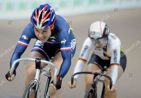 Sandie Clair, Kristina Vogel France's Sandie Clair, left, and Germany's Kristina Vogel compete in the Women's Sprint final race during the European Track Cycling Championships in Pruszkow, near Warsaw, Poland, . Cair won the event