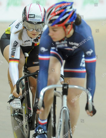 Kristina Vogel, Sandie Clair Germany's Kristina Vogel, left, and France's Sandie Clair compete in the Women's Sprint final race during the European Track Cycling Championships in Pruszkow, near Warsaw, Poland