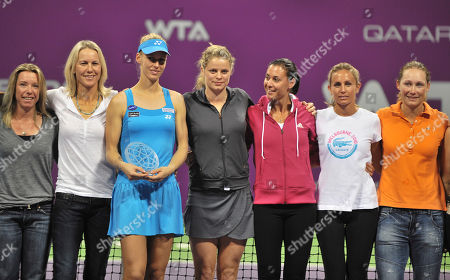 Elena Dementieva Elena Dementieva of Russia, 3rd left, holds a trophy with the other tennis players after announcing her retirement following her WTA Tour Championships tennis match against Francesca Schiavone of Italy during the 4th day of Qatar WTA Tennis Championship in Doha, Qatar, . Demetieva announced her retirement from tennis at the WTA Championships on Thursday