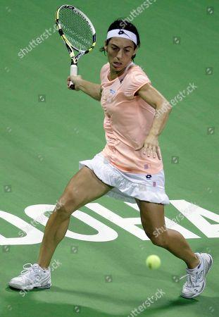 Francesca Schiavone Italy's Francesca Schiavone returns the ball to Russia's Elena Dementieva during the 4th day of the Qatar WTA Tennis Championship in Doha, Qatar
