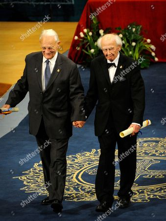Zygmunt Bauman,Alain Touraine Polish sociologist Zygmunt Bauman, right, and French sociologist Alain Touraine, left, acknowledge the crowd after receiving the 2010 Prince of Asturias Award for Communication and Humanities during a ceremony at Campoamor theatre in Oviedo, northern Spain, on
