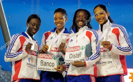France's Veronique Mang, France's Lina Jacques-Sebastien, France's Myriam Soumare, France's Christine Arron Women's 4x100m Relay silver during the European Athletics Championships, in Barcelona, Spain