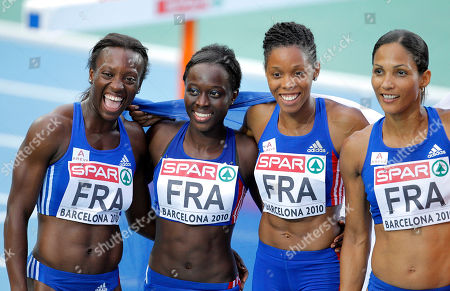 From left, France's Myriam Soumare, Veronique Mang, Lina Jacques-Sebastien, and Christine Arron celebrate their silver medal in the Women's 4x100m Relay, during the European Athletics Championships, in Barcelona, Spain