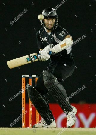New Zealand's Andy McKay bats during the tri nation series one day international cricket match between India and New Zealand in Dambulla, Sri Lanka