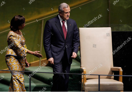 Michel Sleiman General Michel Sleiman, President of Lebanon, is escorted by protocal to address the 65th session of the United Nations General Assembly