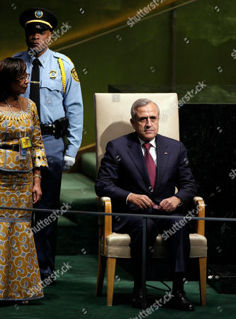 Michel Sleiman General Michel Sleiman, President of Lebanon, waits to address the 65th session of the United Nations General Assembly
