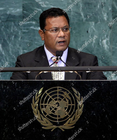 Marcus Stephen, President of Nauru, addresses the summit on sustainable development of small island developing states in the United Nations General Assembly, at the United Nations headquarters