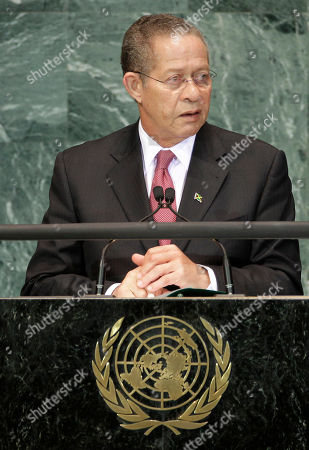 Stock Image of Orette Bruce Golding Orette Bruce Golding, Prime Minister of Jamaica, addresses a summit on the Millennium Development Goals at United Nations headquarters