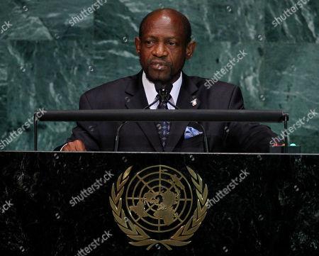 Denzil Douglas Denzil Douglas, Prime Minister of Saint Kitts and Nevis, speaks at United Nations Headquarters on