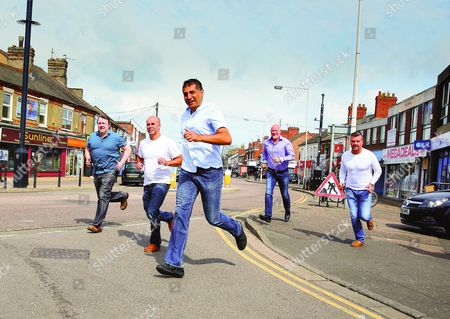Five Boys Running - Reunion June 2016   (left-right )Andy Jackson, Richard Hillson, Devinder Singh, Tony James and Aaron Meadows were around 15 years old in the original picture and running to the chip shop and to play arcade games at the A and B record store in their lunch break. About a year later the all-boys school closed down and their year group was moved to a new school.