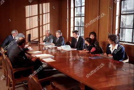 'Fighting for Gemma' - 1993  Gemma D'arcy's legal team right of table L-R Professor Ed Radford[Jerry Harte], Stephen Sedley QC [Philip McGough], Martyn Day [David Threlfall], Gemma [Jennifer Wilson] and her mum Susan [Lorraine Ashbourne] and Susan Wilde [Joanna Foster] at the legal aid board.